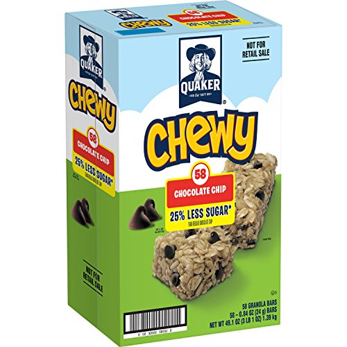 Quaker Chewy Granola Bars, 25% Less Sugar, Chocolate Chip, 58 Count