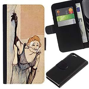 A-type (Fumar Vieja Vestido divertido) Colorida Impresión Funda Cuero Monedero Caja Bolsa Cubierta Caja Piel Card Slots Para Apple (4.7 inches!!!) iPhone 6 / 6S