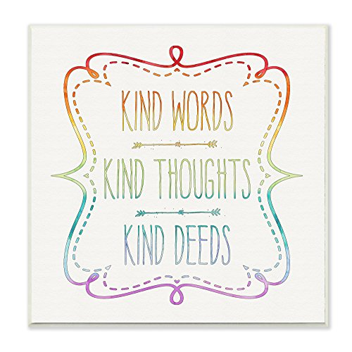 Stupell Home Décor Kind Words Thoughts and Deeds Wall Plaque Art, 12 x 0.5 x 12, Proudly Made in USA