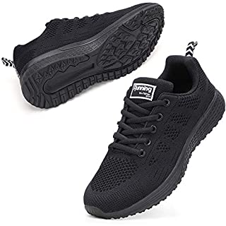 Women Sneakers Fashion Lightweight Breathable Ladies Walking Shoes Black 8