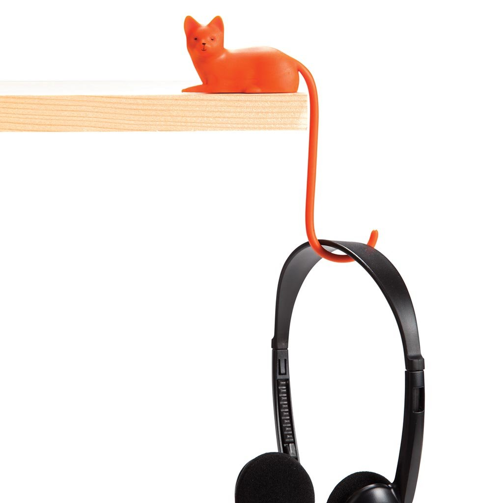 Monkey Business Ginger the Cat Tail Hook for Computer Screen, Tight Spaces, Hang Keys, Accessories in Easy Reach, by
