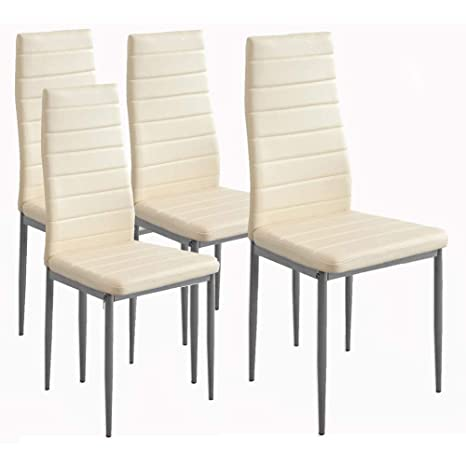 BAKAJI Set 4 Sedie per Sala da Pranzo Salotto Cucina Design Moderno con  Solida Struttura in Metallo e Seduta Imbottita in Ecopelle di Colore Crema