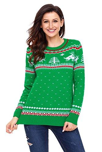 WAZZIT Women Winter O Neck Green Christmas Reindeer Knit Sweater Winter Jumper ()
