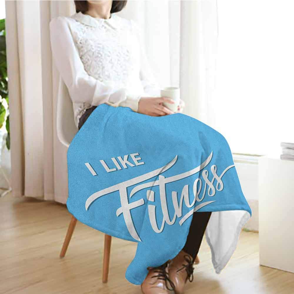 Fitness Personalized Baby Blanket,I Like Fitness Sports and Work Out Athletic Lifestyle Theme Exercise Health Warm Blanket for Autumn Winter,70'' Wx90 L Pale Blue White by Custom&blanket (Image #3)