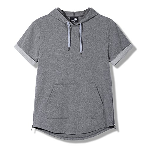 Hsumonre Men's Drawstring Hoodies Pullover Hip Hop Workout Short Sleeve Sweatshirts with Side Zip Pocket (M, Gray)