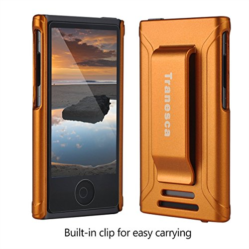 iPod Nano 7 case,Tranesca iPod Nano 7th & 8th generation rubber cover shell case with belt clip - Sunset Orange