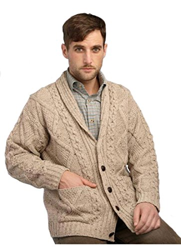 Aran Crafts Men's Shawl Collar Button Cardigan X-Large Oatmeal