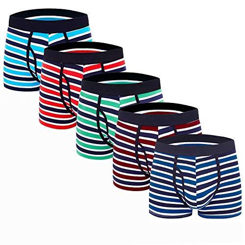 ADOLPH Men's Underwear Boxer Briefs 5 Pack 3D Pouch Open Fly No Ride-up Breathable Comfortable Cotton Sport Underwear Stripe XXL