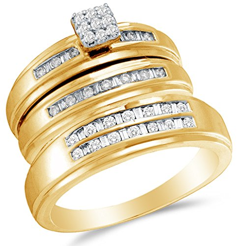 - Sizes - L = 7, M = 10 - 14K Yellow Gold Round & Baguette Diamond Trio Three Ring Set - Matching His and Hers Engagement Ring & Wedding Bands - Channel Set Square Princess Center Setting Shape (.48 cttw.) - Please use drop down menu to select your desired ring sizes