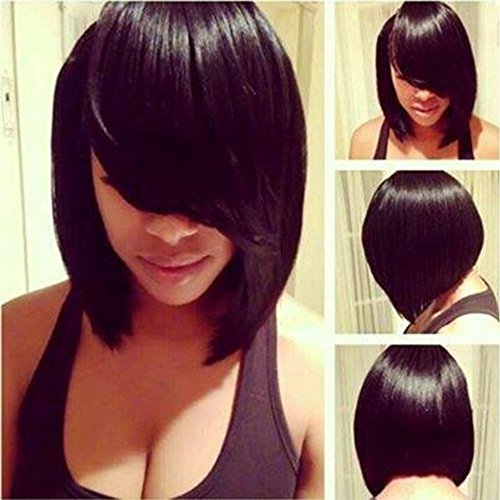 [Chanecci Short Straight Synthetic Hair Bob Wigs for Black Women Cosplay Wig for Women Natural Black As Real Hair with Side Bangs + a Free Wig] (Black Bob Wig With Bangs)