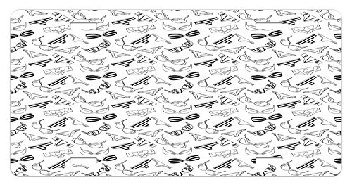 Black and White License Plate by Ambesonne, Lingerie Underwear Pattern Bras and Panties Doodle Feminine Fashion Theme, High Gloss Aluminum Novelty Plate, 5.88 L X 11.88 W Inches, Black White
