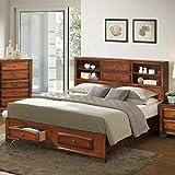 #7: Roundhill Furniture Asger Antique Oak Finish Wood King Size Bookcase Storage Platform Bed
