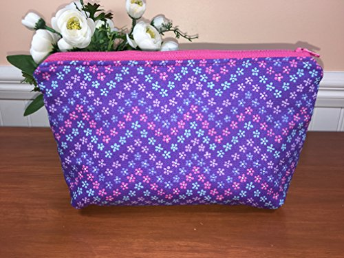 Medium Purple Floral Zipper Pouch, Cosmetic Bag, Travel Pouch