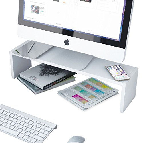 Solid Wood Multi-Purpose Flat Panel Monitor Riser Stand Space Saver Desk Organizer in White
