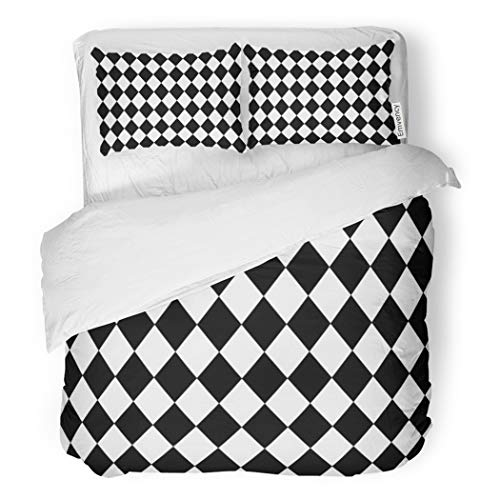 (SanChic Duvet Cover Set Harlequin Argyle Pattern Made of Black Diamonds Over Decorative Bedding Set with 2 Pillow Cases Full/Queen Size )