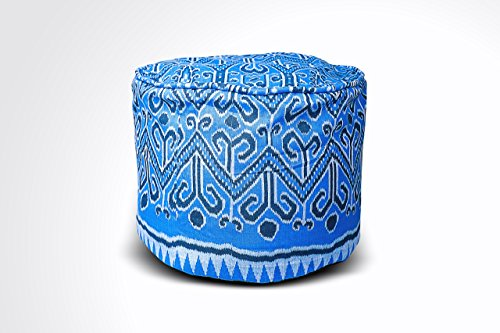 Round Ikat Pouf Ottoman, Blue & White. Ethnic, Boho Pouf, Floor Cushion. Handwoven in Indonesia. 20''W x 13.5''H by Kasih Coop