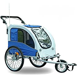 Aosom Elite II Pet Dog Bike Bicycle Trailer Stroller Jogger - Blue