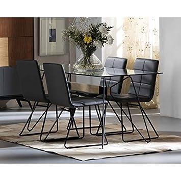 AMUEBLALO - Conjunto de Comedor Mesa Cristal 160cm y 4 sillas BEA ...