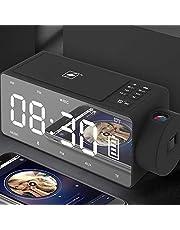 Htterino Projection Alarm Clock Bluetooth Speaker with Wireless Charging DIY Ringtone,One-Click Snooze,Bluetooth Call Speaker,FM Radio AUX, TF Card Input Black