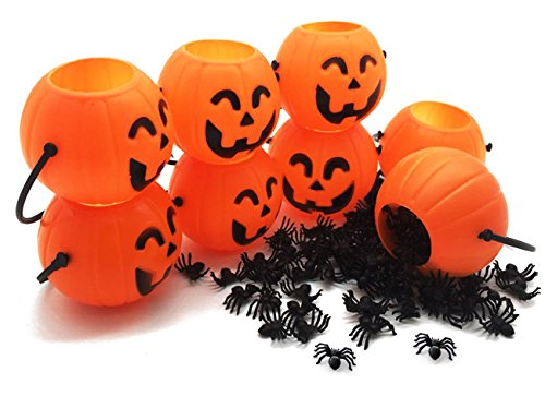 Halloween Mini Pumpkin Pails Candy Holders Funny Bucket for Trick or Treat Party Favor Decoration with Fake Spider Toys for Kids Baby Pack of 8 Pails and 100 Bugs