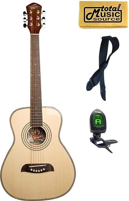 Oscar Schmidt 1/2 tamaño negro tapa de pícea correa de guitarra ...