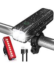 TEUMI Bike Lights, 1200 Lumen Super Bright Bicycle Lights Front & Back Tail Light, USB Rechargeable LED Bike Light Set, Aluminum Alloy Cycling Bike Flashlight Torch, 5 Light Modes, IPX5 Waterproof