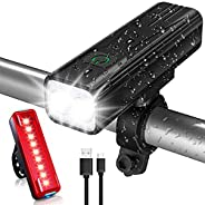 TEUMI Bike Lights, 1200 Lumen Super Bright Bicycle Lights Front & Back Tail Light, USB Rechargeable LED Bi