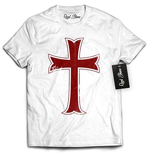 Revel Shore Crusader Knights Templar Distressed Cross T-Shirt (Medium, White) - Knight Men T-shirt