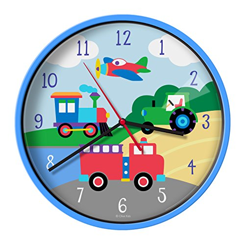 Wildkin Wall Clock, Features Silent Quartz Movement and Durable Plastic Case and Glass Cover, Perfect for Teaching Kids How to Tell Time, Olive Kids Design - Trains, Planes, & Trucks