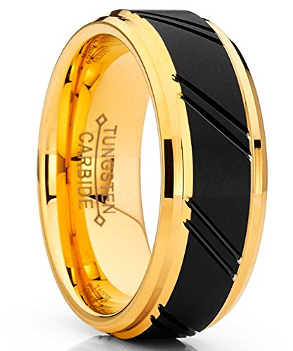 Metal Masters Co. Men's Duo Tungsten Carbide Wedding Band Black and Gold Tone Ring Comfort Fit 8mm 8.5