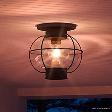Luxury Nautical Outdoor Ceiling Light, Small Size: 10.5 H x 11.5 W, with Art Deco Style Elements, Cage Design, High-End Black Silk Finish and Seeded Glass, UQL1034 by Urban Ambiance