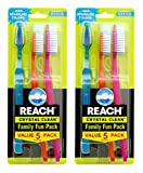 Reach Crystal Clean Family Fun Pack Medium Toothbrushes, 5 Count (Pack of 2)