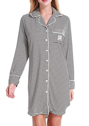 (Aoymay Womens Nightshirt Buttom Down Pjs Long Loungewear Knit Sleepshirt(Black and White Stripes S))