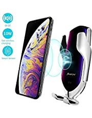 R1 Car Holder Wireless Charger Compatible with iPhone Xs/Xs Max/XR/X /8, Samsung Galaxy Note S7/ S8/ 9/ S9/ S9+, LG, Huawei, and Other Brands. 10W Fast Charging QI Wireless Car Charger Holder