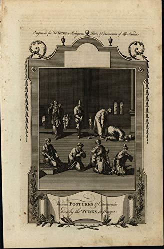Antique Islamic (Islam Prayers Mecca Postures Ceremonies Turkey Turkish 1789 engraved print)