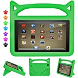 ThreeJ Case for All-New A m a z o n F i r e H D 8 Tablet (7th Gen, 2017 Release), Light Weight Shock Proof Portable Handle Standing Protective Cover [Kids Friendly] for F i r e H D 8 Tablet (Green)