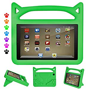 ThreeJ Case All A m a z o n F i r e H D 8 Tablet (7th Gen, 2017 Release), Light Weight Shock Proof Portable Handle Standing Protective Cover [Kids Friendly] F i r e H D 8 Tablet (Green)