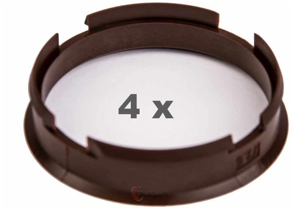 4  x Bague de Centrage 72.6  mm vers 66.6  mm Marron/Brown Pneugo