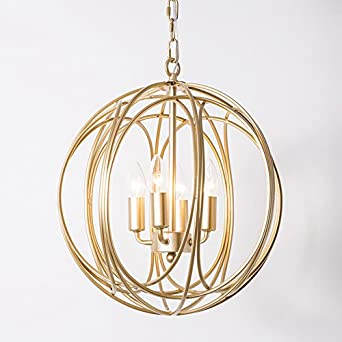 Lovedima Modern Chic Gold Sphere 3 Lights 4 Lights Iron Orb Chain Suspended Chandelier Pendant Light 4-Light