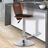 Cheap Armen Living LCSEBABLWA Seattle Barstool in Black Faux Leather and Walnut Wood, Chrome Finish
