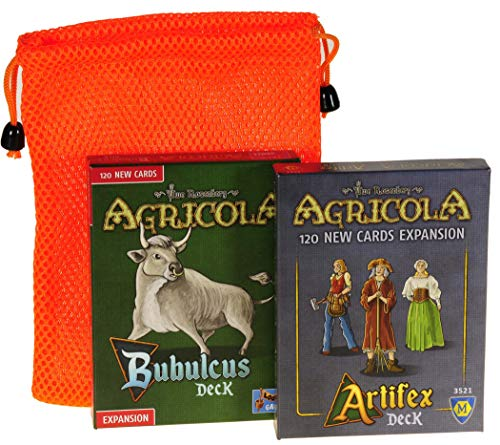 Bubulcus & Artifex Expansion Decks for Agricola Game || with Orange Mesh Drawstring Storage Pouch || Bundled Items