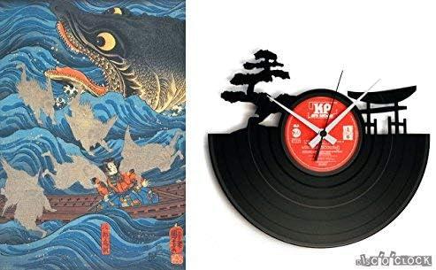 DiscOClock Orologio in Vinile da Parete Lp 33 Giri Silenzioso Sunset Idea Regalo A Tema Paesaggio Giapponese