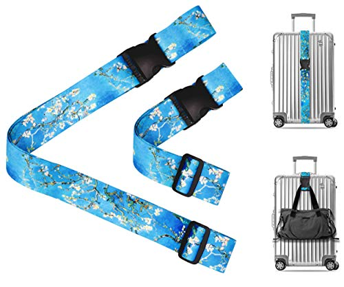 (Vincent Van Gogh Almond Blossom Travel Luggage Strap Suitcase Security Belt. Heavy Duty & Adjustable. Must Have Travel Accessories. TSA Compliant. 1 Luggage Strap & 1 Add A Bag Strap. 2-Piece Set. )