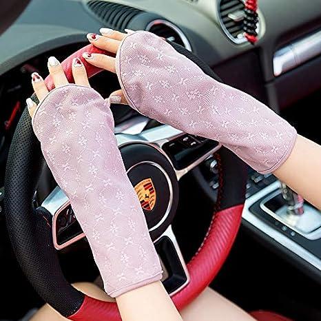 Sonnenschutz-Handschuhe der d/ünne Handschuhe antreibt Outdoor UV-Schutz Damen-Sonnenschutz-Halbfingerhandschuhe UV-Schutz-Handschutz Color : Black, Size : One Size