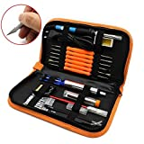 Electric Soldering Iron Kit with Adjustable Temperature Welding Iron,5pcs Tips, Desoldering Pump, 2pcs Tweezers, Tin Wire Tube, Stand and 6pcs Aid Tools in PU Carry Bag