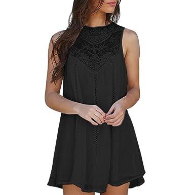 d814532c270f Paymenow Women Lace Patchwork Hollow Out Crochet Mini Dress Casual Summer  Sleeveless Loose Swing Short Dress