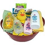 Sunshine Gift Baskets - 14 Piece Baby Bath Time Gift Set (Cranberry)
