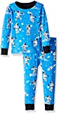 Hatley Boys' Little Organic Cotton Long Sleeve Printed Pajama Sets, Glow in The Dark Athletic Astronauts, 4 Years