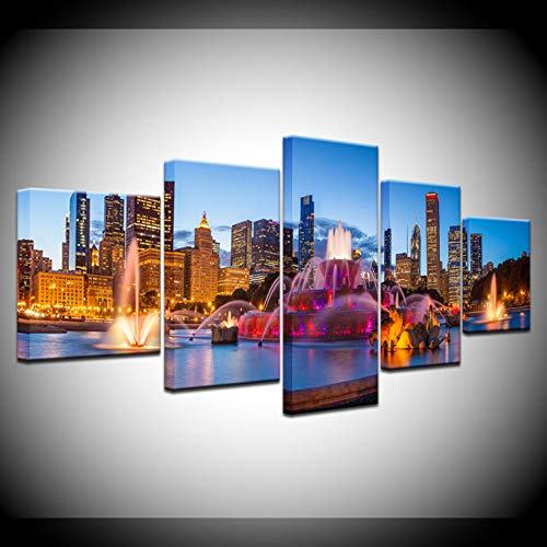 JFSJDF Modern Pictures Decoration Hd Prints 5 Pieces Chicago Buckingham Fountain Scenery Poster Wall Art Modular Paintings ()