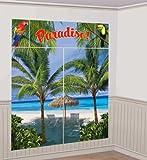 "Amscan Hawaiian Summer Luau Beach Front & Palm Trees Scene Setter Kit (5 Piece), Multi Color, 14.5 x 10.4"""
